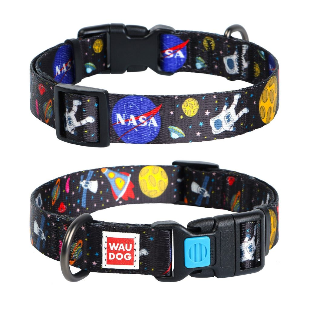 NASA WauDog Nylon Collar (НАСА ВауДог нейлон), нейлоновый ошейник с дизайном НАСА