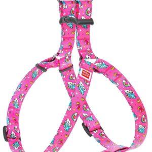 """Нейлоновая шлейка для собак WauDog Collar с рисунком """"Единороги"""""""